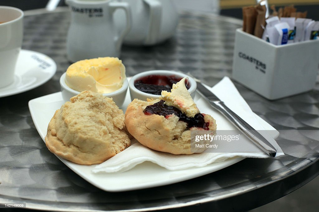In this photo illustration a Cornish cream tea is displayed on a table outside a cafe in St Ives on March 30, 2012 in Cornwall, England. With only a few months to go until the opening ceremony of the London 2012 Olympic games, Britain's tourist industry is hoping to benefit from the influx of athletes, officials and visitors.