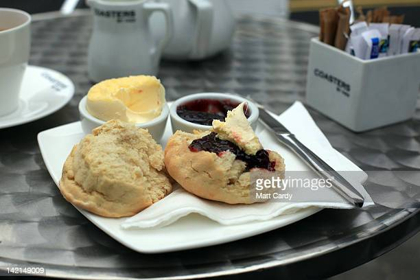 In this photo illustration a Cornish cream tea is displayed on a table outside a cafe in St Ives on March 30 2012 in Cornwall England With only a few...