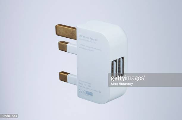 In this photo illustration a detail of a USB power adaptor a component the UK folding plug product designed by Royal College of Art student MinKyu...