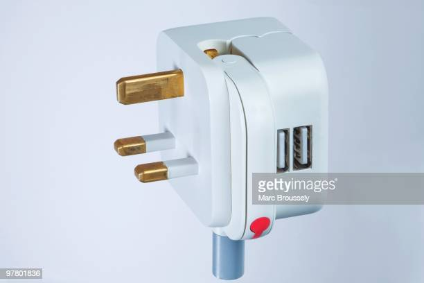 In this photo illustration a detail of the UK folding plug and USB power adaptor component designed by Royal College of Art student MinKyu Choi is...