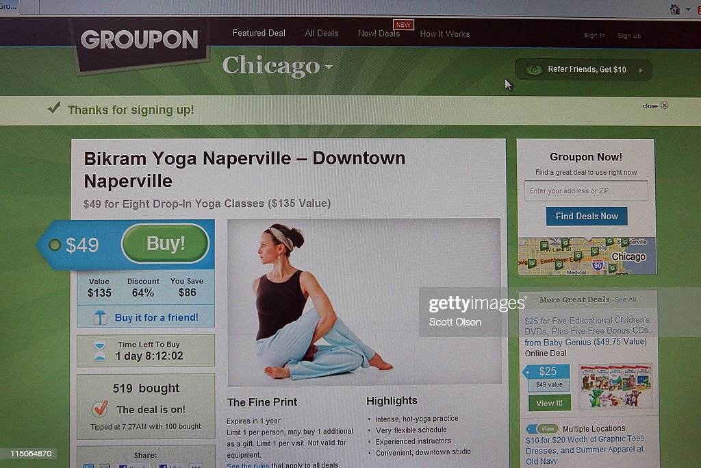 In this photo illustration a discount on yoga classes is offered through the Groupon website for the Chicago area on June 2 2011 in Chicago Illinois...
