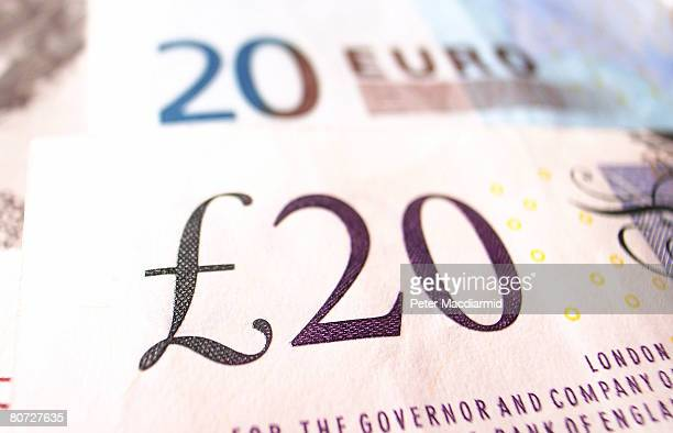 In this photo illustration a Euro note and a GBP note are displayed on April 17 2008 in London England The United Kingdom's financial outlook still...