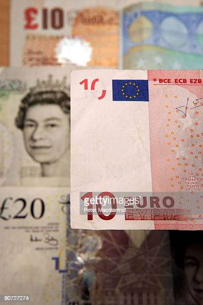 In this photo illustration a Euro note and a GBP notes are displayed on April 17 2008 in London England The United Kingdom's financial outlook still...