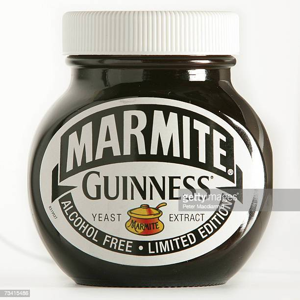 In this photo illustration A jar of Guinness special edition Marmite is seen on February 25 2007 in London The special Guinness edition of the...