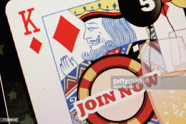 In this photo illustration a 'join now' button is displayed on a screen on an online gambling website on August 7 2006 in London Online gambling is...