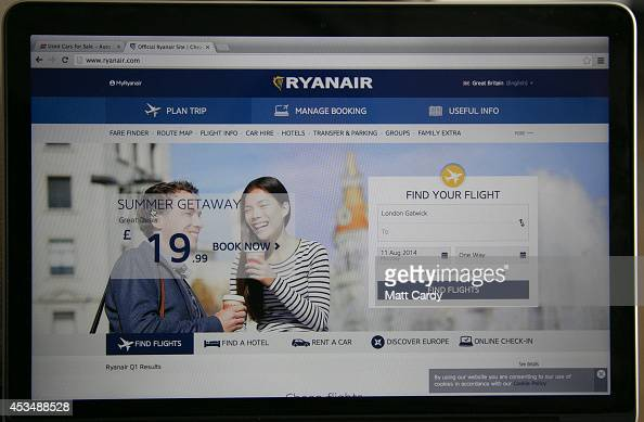 In this photo illustration a laptop displays the Ryanair website on August 11 2014 in Bristol United Kingdom This week marks the 20th anniversary of...