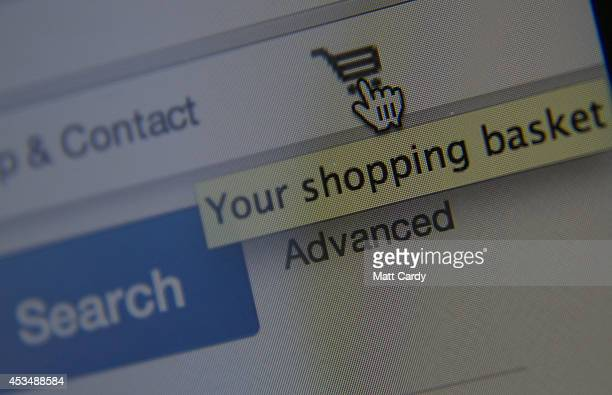 In this photo illustration a laptop displays the shopping basket on the eBay website on August 11 2014 in Bristol United Kingdom This week marks the...