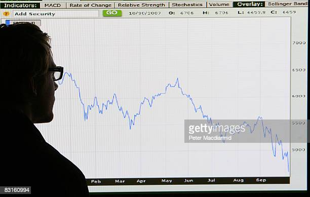 In this photo illustration a man looks at a graph representing the 12 month decline of the FTSE 100 share index on October 7 2008 in London Financial...
