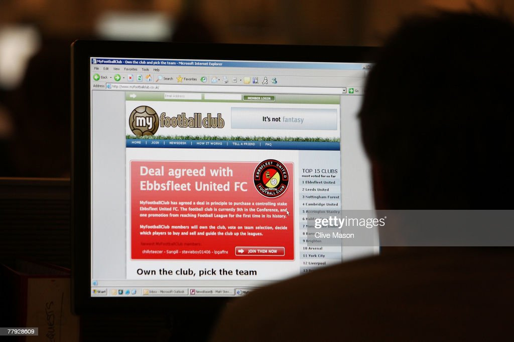 In this photo illustration, a man looks at the website of Ebbsfleet United on November 15, 2007 in London, United Kingdom. The Ebbsfleet United football club of currently in theBlue Square Premier League was bought by a fan website MyFootballClub.co.uk.