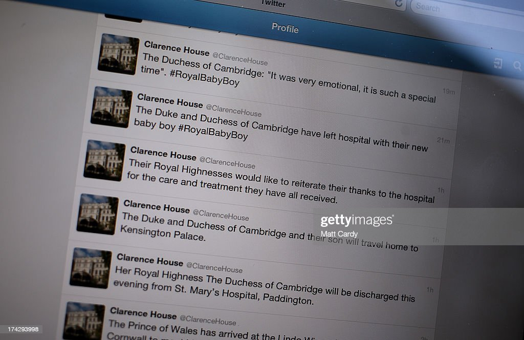In this photo illustration a man looks at Twitter on a iPad of tweets from Clarence House on July 23, 2013 in Bristol, England. The Duchess of Cambridge yesterday gave birth to a boy at 16.24 BST and weighing 8lb 6oz, with Prince William at her side. The baby, as yet unnamed, is third in line to the throne and becomes the Prince of Cambridge.