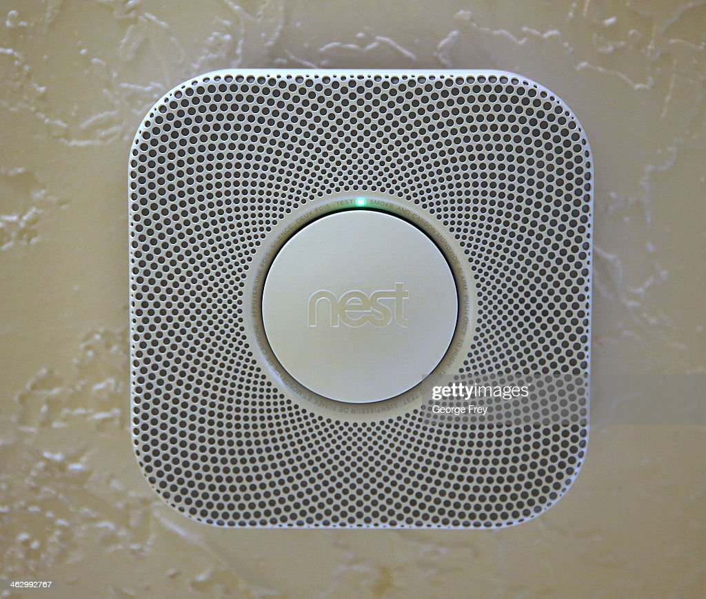 In this photo illustration, a Nest smoke and carbon monoxide detector installed in a home is seen on January 16, 2014 in Provo, Utah. Google bought Nest, a home automation company, for $3.2 billion taking Google further into the home ecosystem.