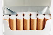 In this photo illustration a packet of cigarettes are seen on May 16 2007 in London Businesses and shops are gearing up for the introduction of the...