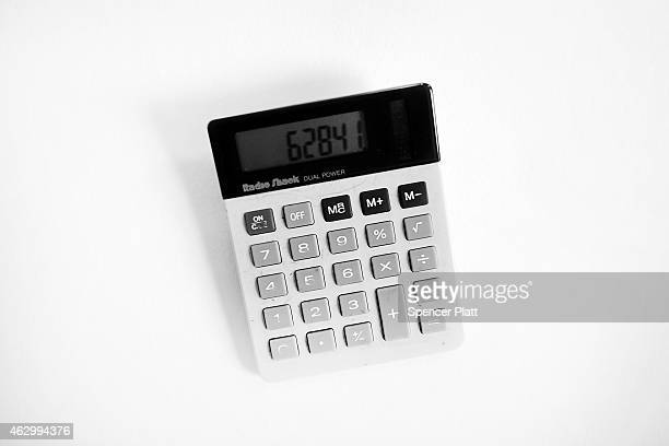 In this photo illustration a RadioShack calculator is shown on February 8 2015 in Westport Connecticut RadioShack which filed for Chapter 11...