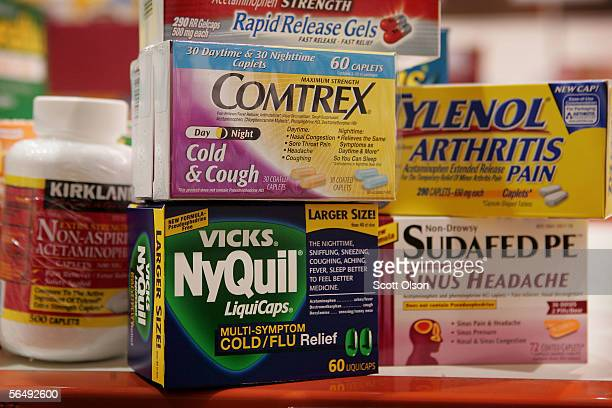 In this photo illustration a selection of pain cold flu and sinus medication which contain acetaminophen are offered for sale at Costco Wholesale...