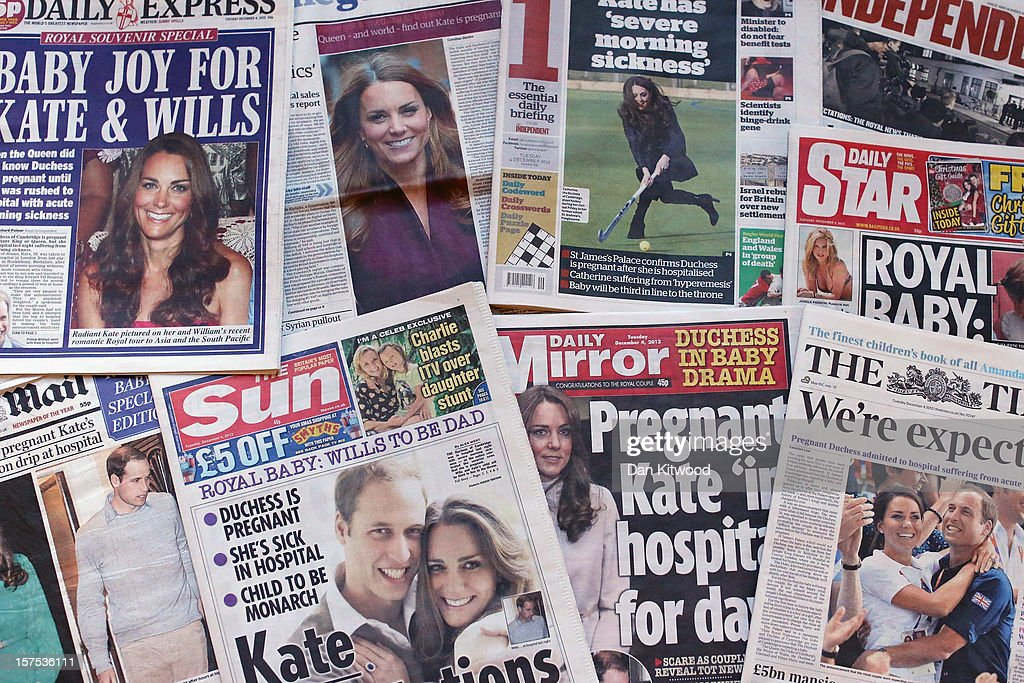 In this photo illustration, a selection of the front pages of the UK National newspapers showing news of the Duchess of Cambridge's preganancy on December 4, 2012 in London, England. The Duchess, believed to be 12 weeks preganant, is currently being treated in King Edward VII hospital with morning sickness.