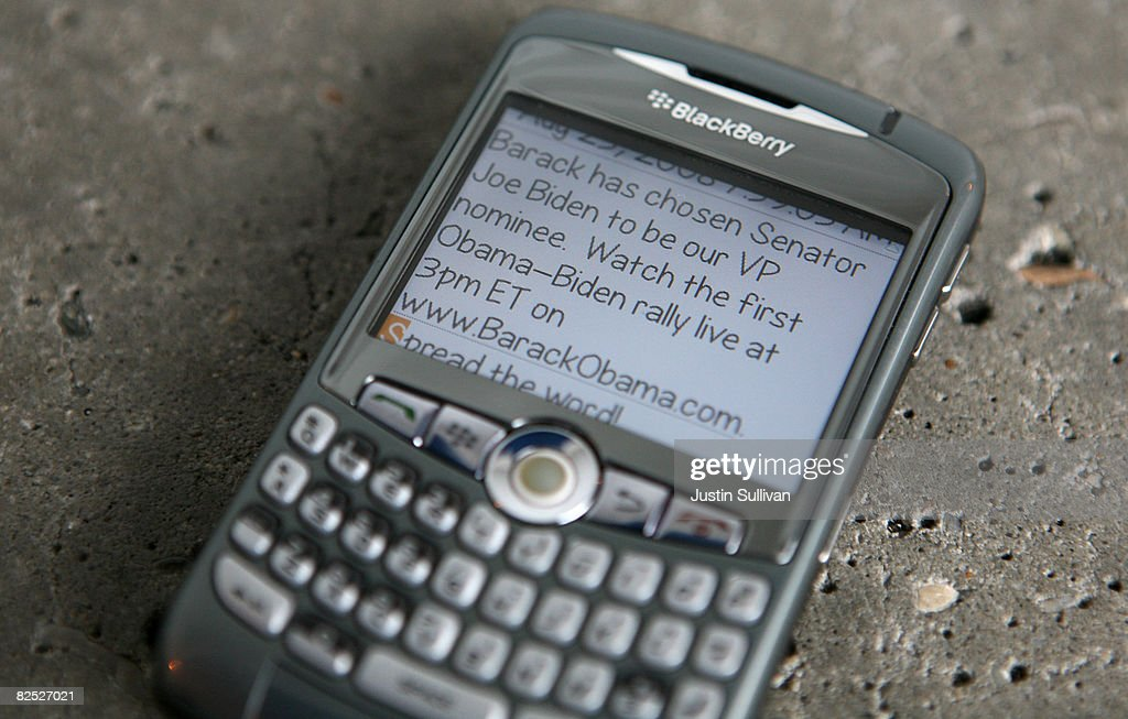 In this photo illustration, a text message from the Barack Obama campaign on a cell phone announces U.S. Sen. Joe Biden (D-DE) as the Democratic Vice Presidential running mate August 23, 2008 in San Anselmo, California. Presumpitve Democratic Presidential nominee U.S. Sen. Barack Obama (D-IL) notified supporters of his choice for VP via text message early Saturday morning.