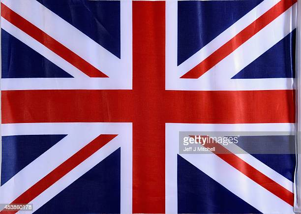 In this photo illustration a Union Jack flag is placed on a table on August 20 2014 in Glasgow Scotland First Minister Alex Salmond's chief economic...