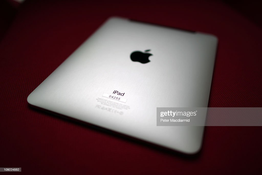 In this photo illustration a view of the back of an Apple ipad tablet shows it's unique serial number and Apple logo on February 17 2011 in London...