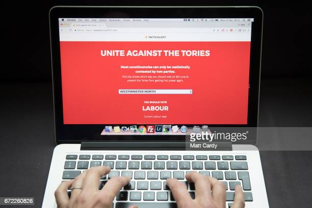 In this photo illustration a woman looks at a tactical voting website website on a laptop computer on April 24 2017 in Bristol England The use of...