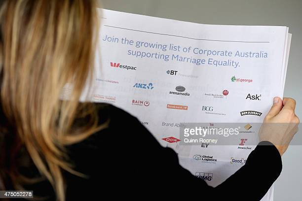 In this photo illustration a woman reads the marriage equality ad in the Australian newspaper on May 29 2015 in Melbourne Australia 53 of Australia's...