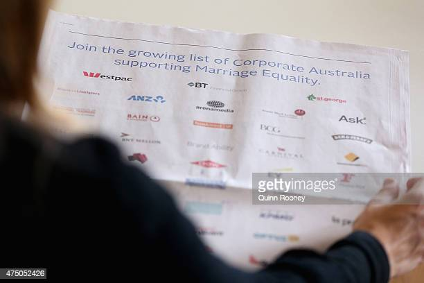 In this photo illustration a women reads the marriage equality ad in the Australian newspaper on May 29 2015 in Melbourne Australia 53 of Australia's...