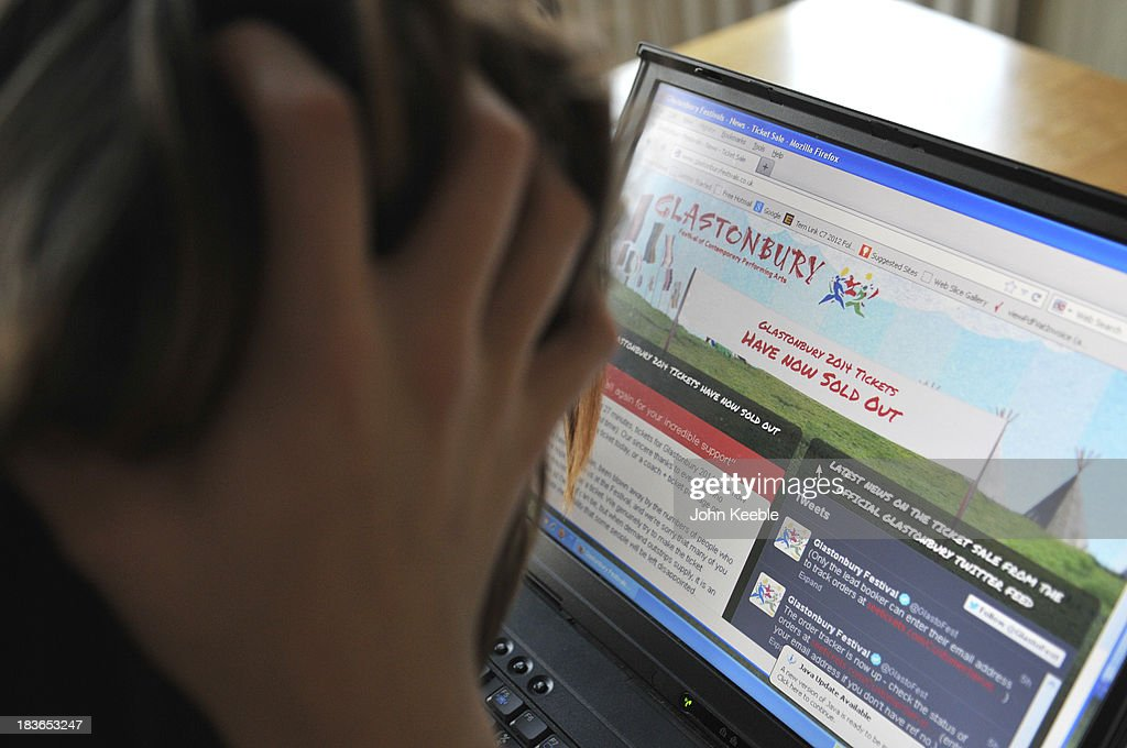 In this photo illustration a women shows her fustration at not beeing able to purchase Glastonbury tickets on October 6, 2013 in London, United Kingdom. Tickets for next year's Glastonbury Festival went on sale today and sold out in a record time of just one hour and 27 minutes.
