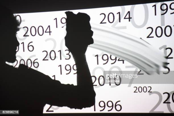 In this photo illustration a young man wipes dates from a list of recent years on August 09 2017 in London England The choice of having personal data...