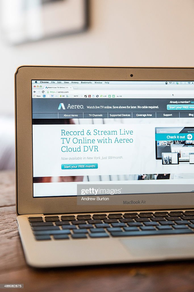 In this photo illustration, Aereo.com, a web service that provides television shows online, is shown on an MacBook Air, on April 22, 2014 in New York City. Aereo is going head-to-head against ABC, a major television network, in a court case being heard by the Supreme Court.