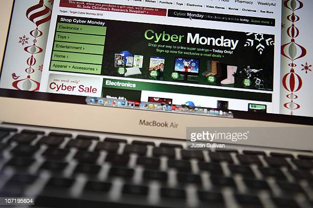 In this photo illustration an ad seen on the Target website for a Cyber Monday sale is displayed on a laptop computer on November 29 2010 in San...