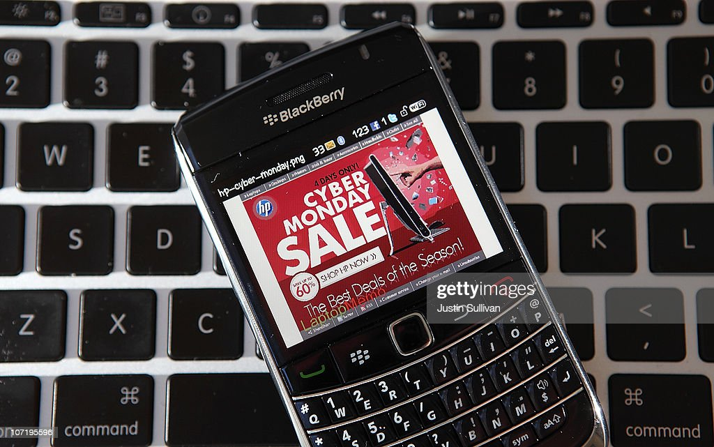 In this photo illustration, an advertisement for a Cyber Monday sale is displayed on a BlackBerry smart phone on November 29, 2010 in San Anselmo, California. Following Black Friday, online retailers are rolling out deep discounts in hopes of luring people who are returning to work into making online purchases on what is now referred to as Cyber Monday.
