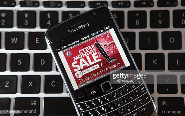 In this photo illustration an advertisement for a Cyber Monday sale is displayed on a BlackBerry smart phone on November 29 2010 in San Anselmo...