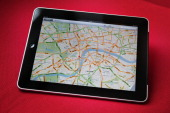 In this photo illustration an Apple ipad tablet displays a map of London on February 17 2011 in London England Apple sold two million ipads in the...