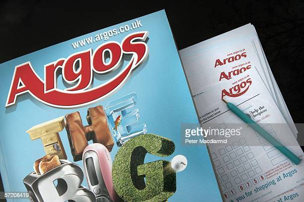 In this photo illustration an Argos catalogue and purchase slips are displayed at a branch near Byfleet on March 29 2006 in Surrey England Parent...