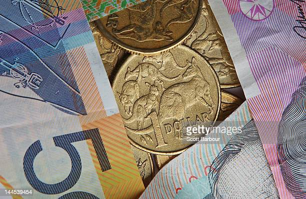 In this photo illustration an Australian one dollar coin is displayed on May 16 2012 in Melbourne Australia The Australian dollar is lower after...