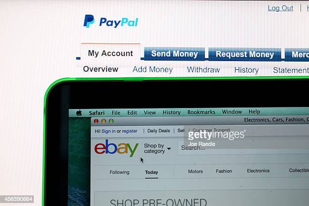 In this photo illustration an eBay website and PayPal website are seen displayed on computer screens on September 30 2014 in Miami Florida Today eBay...