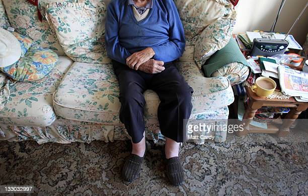 In this photo illustration an elderly man warms himself in front of a fire on October 6 2011 in Bristol England Energy price rises and an increase in...