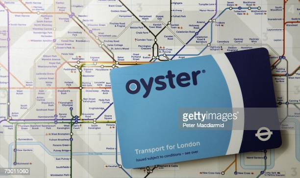 In this photo illustration an Oyster travel card is displayed on a map of the London underground network on January 16 2007 in London The cost of...