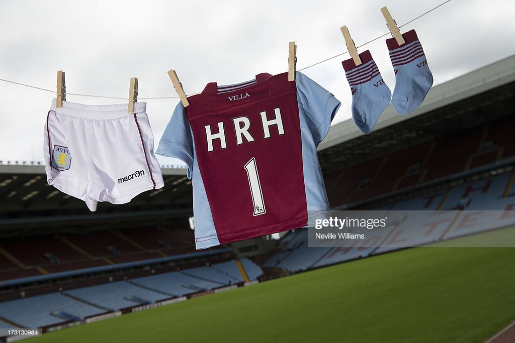 In this photo illustration Aston Villa merchandise is displayed ahead of the birth of the first child of The Duke and Duchess of Cambridge on July 08, 2013 in Birmingham, England.