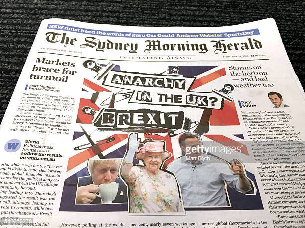 In this photo illustration Australian newspaper The Sydney Morning Herald with the cover headline reading 'Anarchy In The UK Brexit' in reference to...