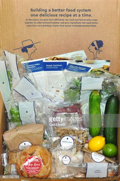 In this photo illustration Blue Apron mealkit delivery package recipes are displayed on June 28 2017 in Trumbull Connecticut The online mealkit...