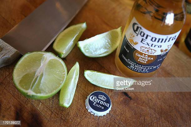 In this photo illustration bottles of Corona beer are shown on June 7 2013 in Chicago Illinois Constellation Brands one of the world's largest wine...