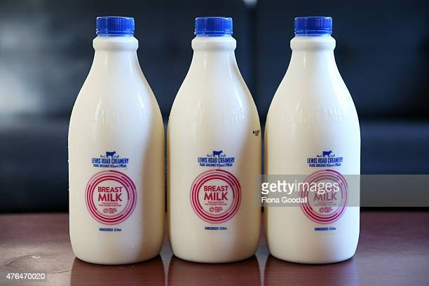 In this photo illustration bottles of the red label Lewis Road Creamery 15 litre milk are seen on June 10 2015 in Auckland New Zealand Breastfeeding...