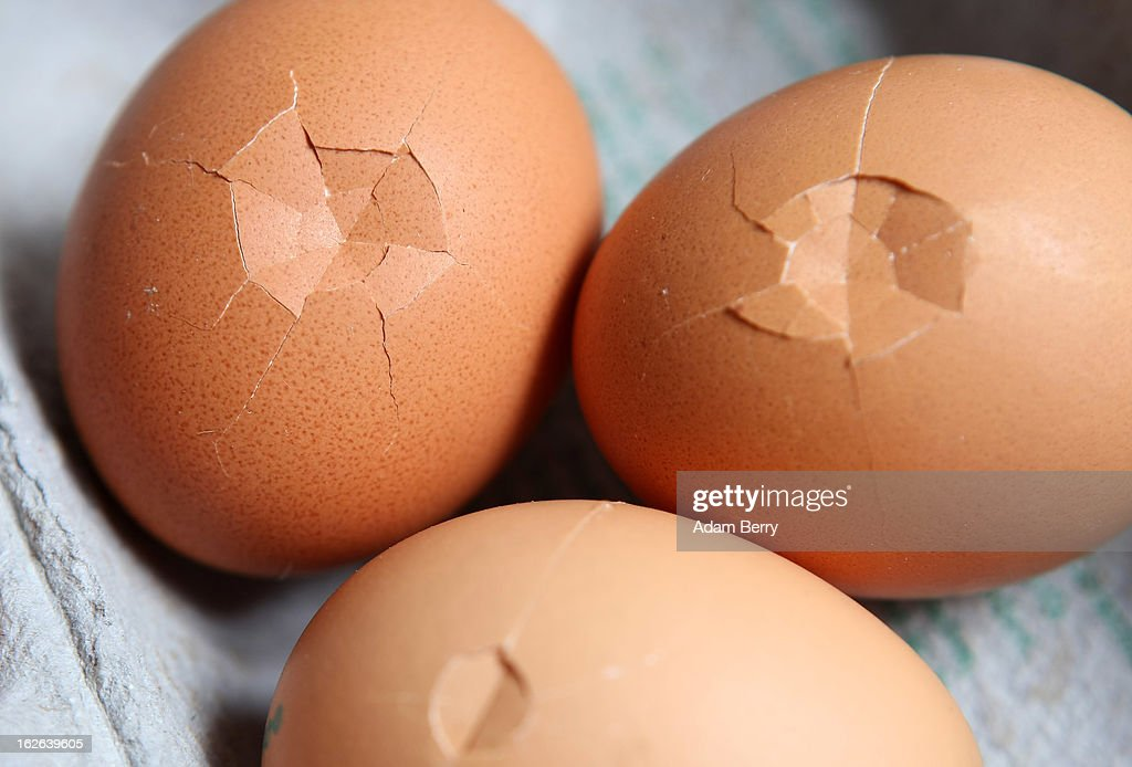 In this photo illustration, broken eggs sold as organic are seen on February 25, 2013 in Berlin, Germany. According to a report, hundreds of egg-providing companies in the country are inaccurately describing their products as organic ('bio' in German), a mislabeling due to the producers exceeding the permitted maximum number of chickens allowed to be kept in their cages at one time to be able to receive the official certification.