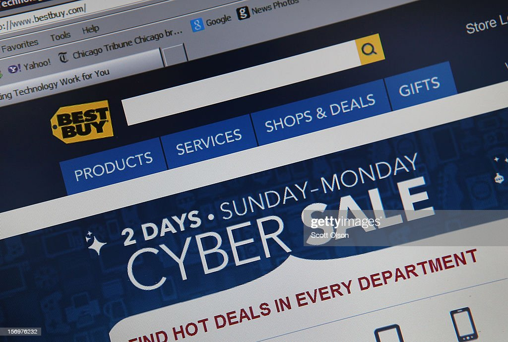 In this photo illustration, Electronics retailer Best Buy advertises Cyber Monday sales on the store's website on November 26, 2012 in Chicago, Illinois. Americans are expected to spend $1.5 billion while shopping online today, up 20 percent from last year.