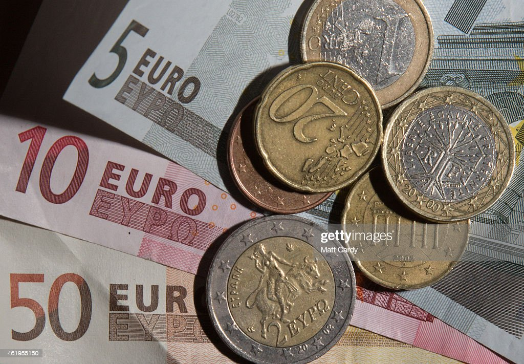 In this photo illustration Euro currency is seen ahead of Greece's general election on January 22 2015 in Athens Greece According to the latest...