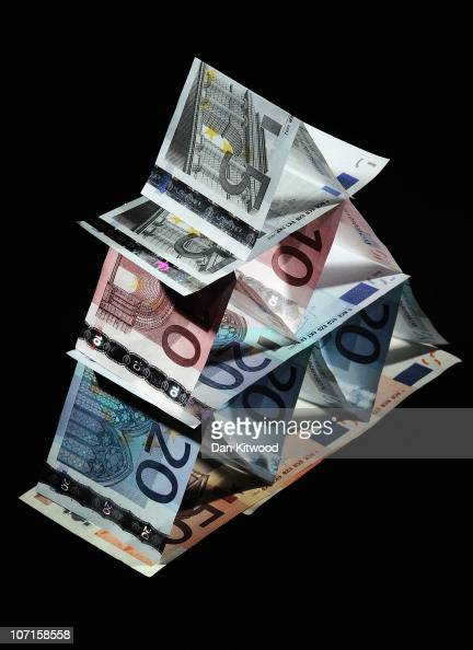 In this photo illustration Euro notes are displayed in a pyramid on November 26 2010 in London England Concerns over the Euro zone debts have caused...