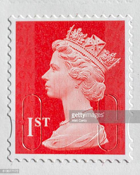 In this photo illustration first class postage stamps are displayed on February 29 2016 in Bath England Royal Mail recently privatised is set to...