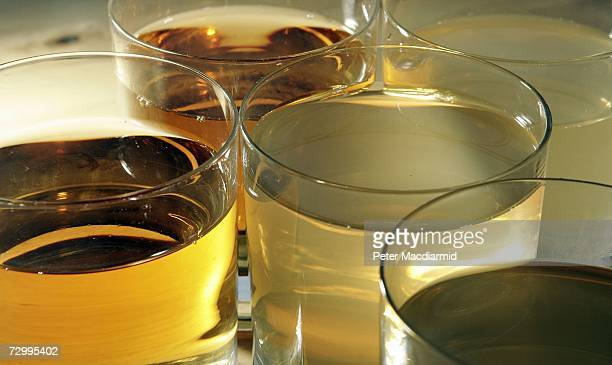 In this photo illustration glasses of clear and cloudy apple juice are displayed on January 14 2007 in London A Society of Chemical Industry report...