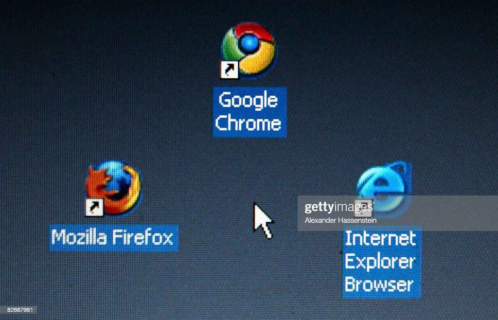 In this photo illustration Google's Chrome browser shortcut, Google Inc.'s new Web browser, is displayed next to Mozilla Firefox shortcut and Microsoft's Internet Explorer browser shortcut, on an laptop.