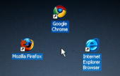 In this photo illustration Google's Chrome browser shortcut Google Inc's new Web browser is displayed next to Mozilla Firefox shortcut and...